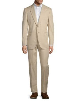 Isaia Suits Gregory Solid Cotton Suit