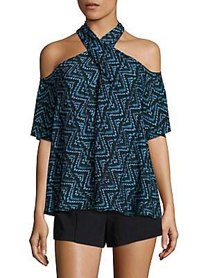 Kayley Cold-Shoulder Silk Top