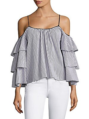 5b4f7d03bb691f Parker - Dane Pinstriped Off-The-Shoulder Bell Sleeves Blouse ...
