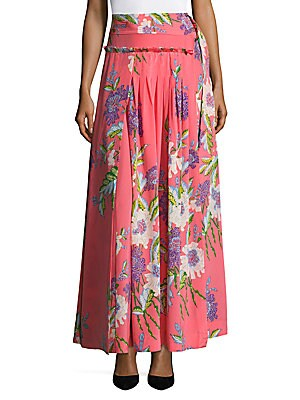 Floral D-Ring Silk Skirt