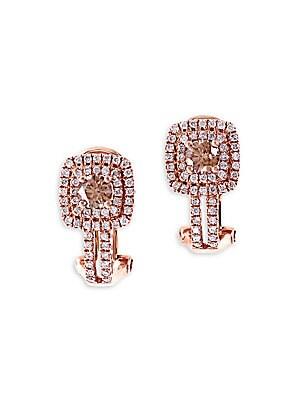 Final Call Diamond & 14K Rose Gold Earrings