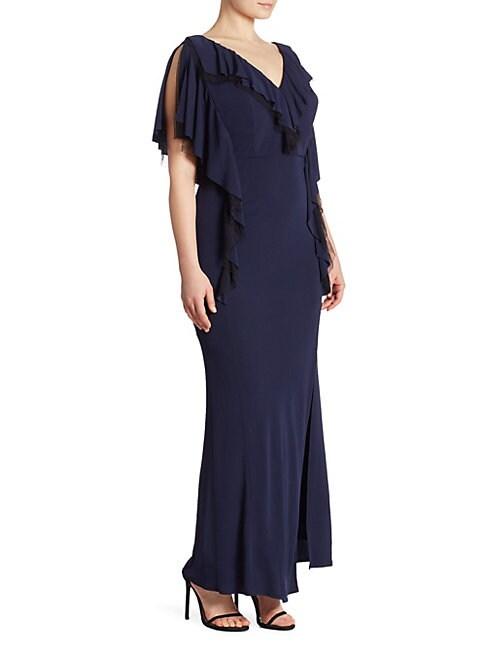 ABS | Plus Matte Jersey Ruffle Gown | Goxip
