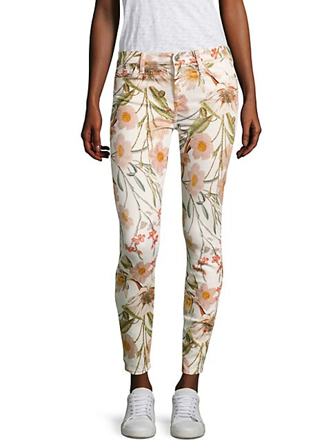 Tropical Printed Skinny Ankle Jeans