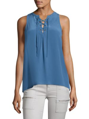 Joie  Deasia Lace-Up Silk Tank Top