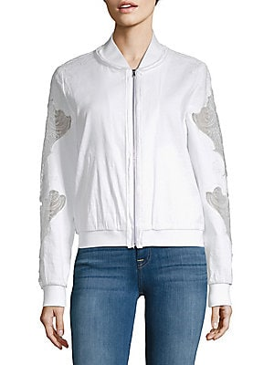 Zandra Baseball Collar Lace-Sleeve Jacket