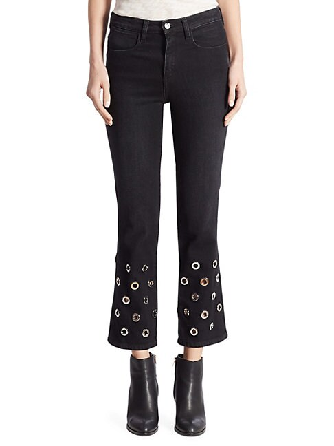 BROCKENBOW | Juliette High-Rise Grommet Cropped Flared Jeans | Goxip