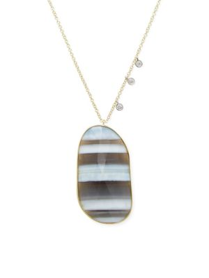 Meira T  African Blue Opal, Diamond and 14K Yellow Gold Pendant Necklace