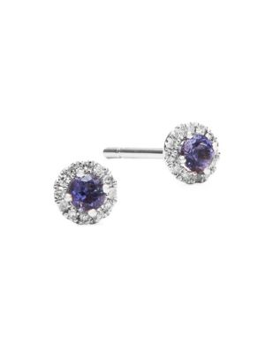 Meira T  Diamond, Crystal and 14K White Gold Stud Earrings