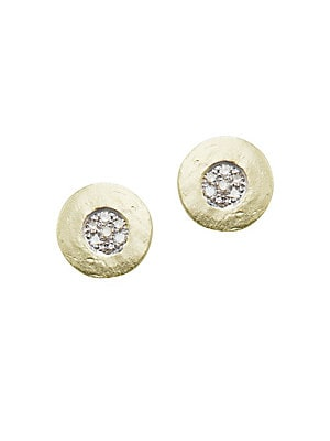 White Topaz, Diamond And 14 K Rose Gold Stud Earrings by Meira T