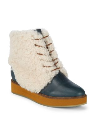 LUXE Bundaburg Shearling Ankle Boots in Blazer Blue