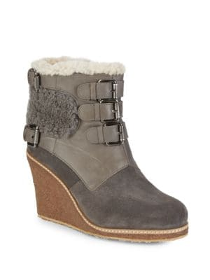 Monk Strap Shearling Wedge Boots, Grey