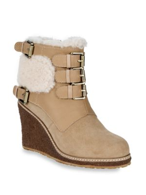 Monk Strap Shearling Wedge Boots, Sand