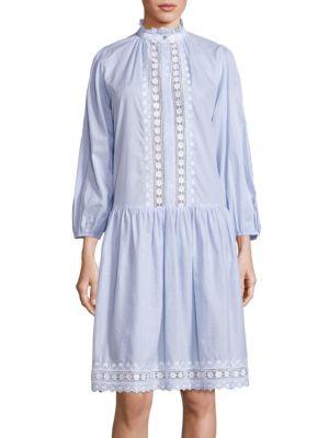 Caravan Pin Cotton Dress, Blue