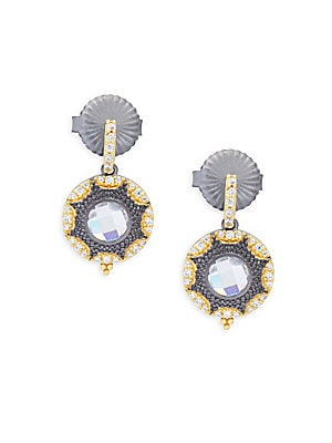 Freida Rothman  CRYSTAL AND STERLING SILVER TURQUOISE MARQUISE DROP EARRINGS