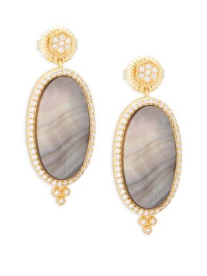 Freida Rothman  Crystal, Mother-Of-Pearl and Sterling Silver Pavé Framed Drop Earrings