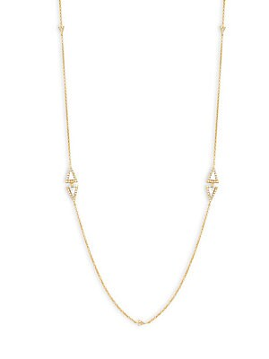 Freida Rothman  MOTHER-OF-PEARL, CRYSTAL AND YELLOW GOLDTONE SINGLE STRAND NECKLACE