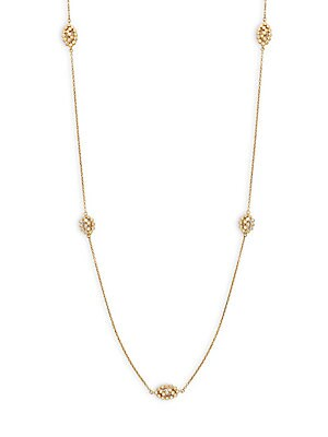 Freida Rothman  CRYSTAL AND GOLDPLATED CUT OUT CAGE SINGLE STRAND NECKLACE