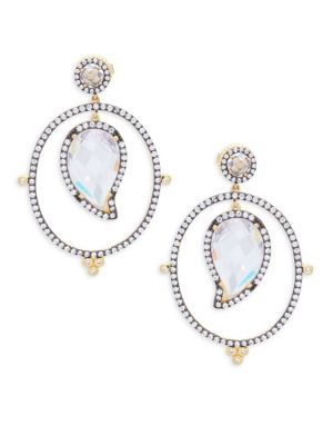 Freida Rothman  CRYSTAL AND STERLING SILVER PAISLEY DROP EARRINGS