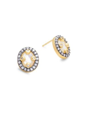 Freida Rothman Jewelries Crystal, Mother-Of-Pearl and Sterling Silver Small Mirror Drop Earrings