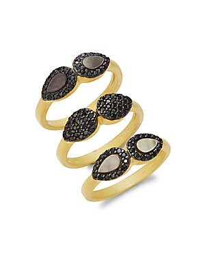 Slated Noir Droplet Stackable Ring Set