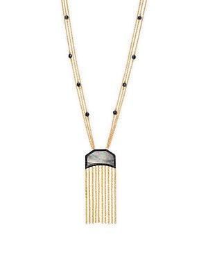 Freida Rothman  MOTHER-OF-PEARL, CRYSTAL AND YELLOW GOLDPLATED FRINGED STRAND NECKLACE