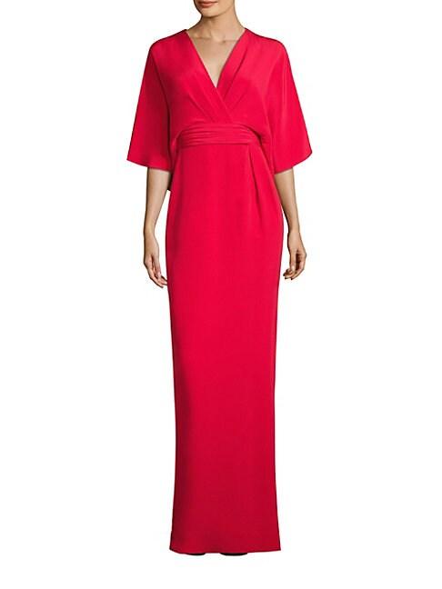 Solid Silk Blend Kimono Gown