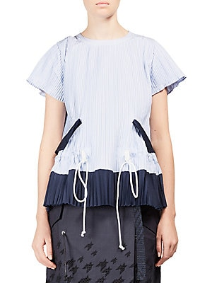 Pleated Colorblock Top