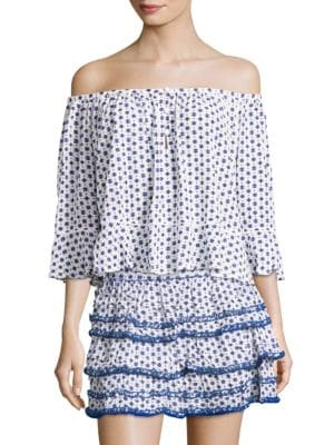 Poupette St Barth Eva Crinkled Off-The-Shoulder Blouse