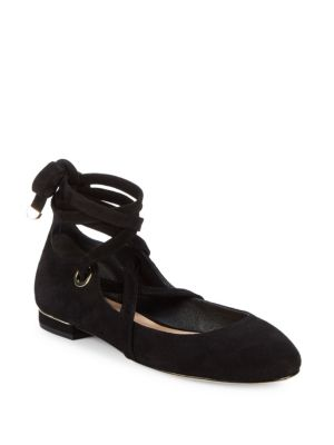 Diane Von Furstenberg Dakar Suede Lace-Up Ballet Flats