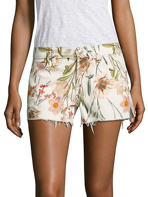 Tropical Printed Cutoff Shorts