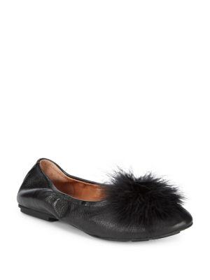 Gentle Souls Faux Fur Pom Pom Leather Ballet Flats