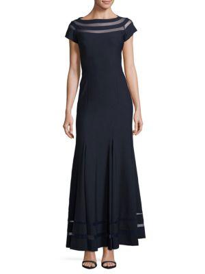 Js Collections  Ottoman and Mesh Insert Floor-Length Dress