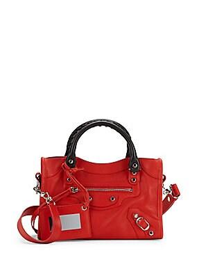 Top Zip Leather Handbag