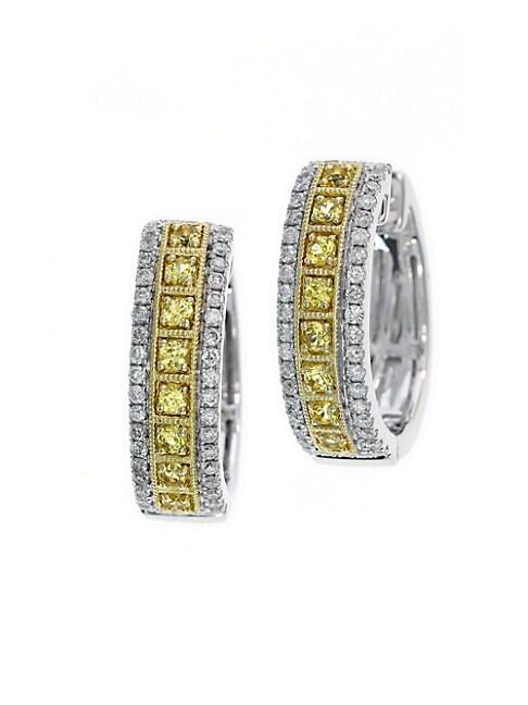 EFFY | Yellow Sapphire, Diamond and 14K White Gold Hoop Earrings | Goxip