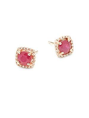 Ruby, Diamond and 14K Rose Gold Stud Earrings