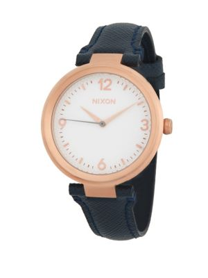 Nixon Chameleon Leather Stainless Steel Quartz Strap Watch
