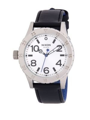 Nixon 38-20 Leather Stainless Steel Quartz Strap Watch