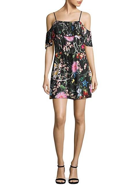 DELFI COLLECTIVE | Cecilia Floral-Print Cold-Shoulder Dress | Goxip