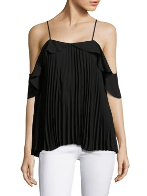 DELFI COLLECTIVE Emmy Pleated Cold-Shoulder Top in Black