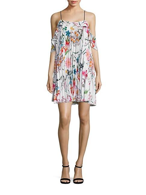 DELFI COLLECTIVE | Elisa Floral Cold Shoulder Ruffle Dress | Goxip