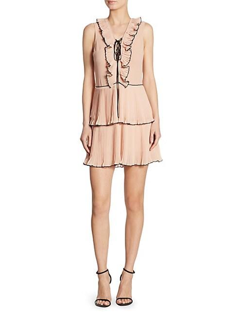DELFI COLLECTIVE | Kiki Pleated Lace-Up Dress | Goxip