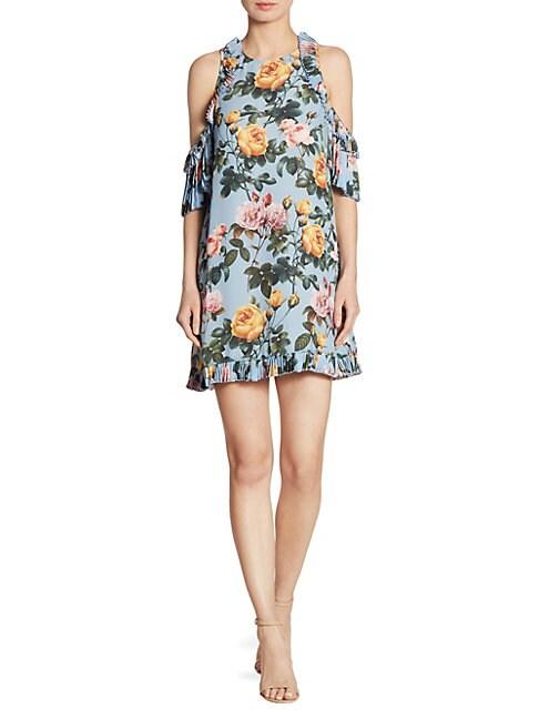 DELFI COLLECTIVE | Minnie Cold-Shoulder Floral-Print Dress | Goxip