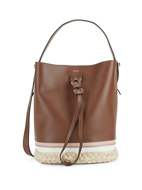 Vittoria Drawstring Bucket Bag, Brown