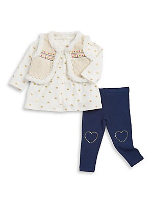 Baby Girls ThreePiece Faux FurTrim Vest Top and Leggings Set