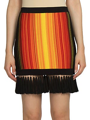 Sunshine Stripe Fringe-Hem Skirt