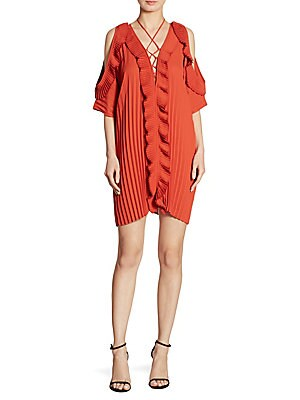 Gloria Pleated Cold-Shoulder Lace-Up Dress