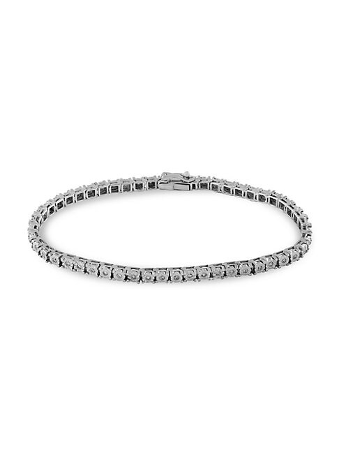 14K White Gold & 0.51 TCW Diamond Tennis Bracelet