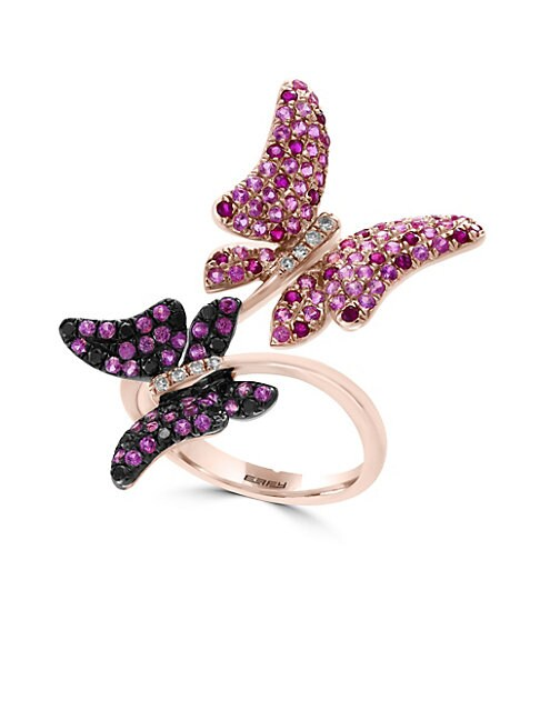 EFFY | 14K Rose Gold Diamonds Sapphires and Rubies Butterflies Ring | Goxip
