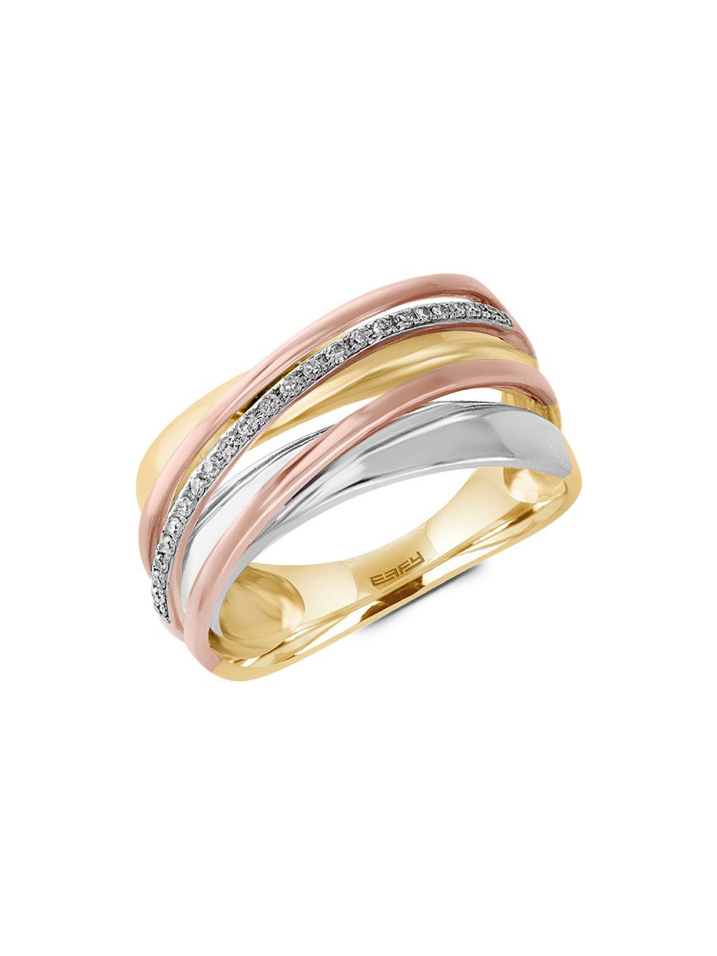 Effy Diamond and 14K Gold Crisscross Ring, 0.11 TCW