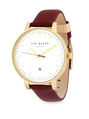 Ted Baker  Goldtone Stainless Steel Leather Strap Watch